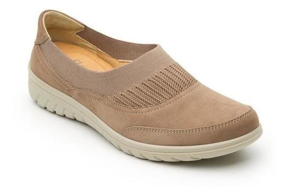 Calzado Dama Mujer Zapato Confort Flexi En Piel Taupe Comod