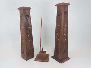 Porta Sahumerios Torre Madera Cuadrada-importado.