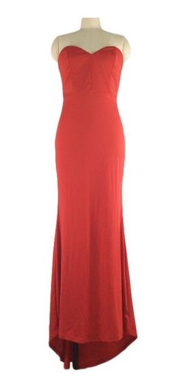 Vestido De Fiesta Talla M Rojo Largo Elegante Usado 1 Vez