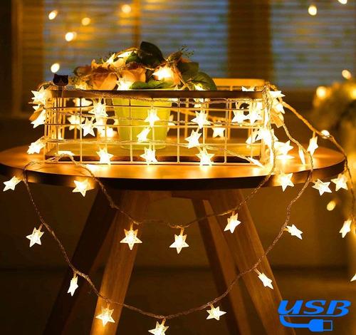 Imagen 1 de 10 de Tira Led Decorativas 6m 40led Luces De La Estrella Cuerda