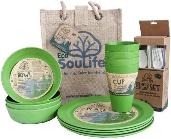 Set Para Picnic Ecológico 100% Biodegradable Hecho De Bambú.