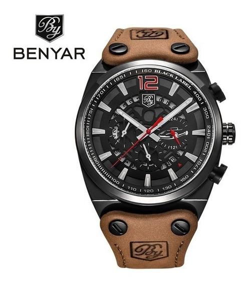 Relógio Benyar Preto/verm Luxo Masculino Analógico Esportivo