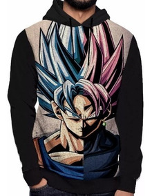 Blusa Moletom Capuz Dragon Ball Goku Black Rose Super Dbz Db