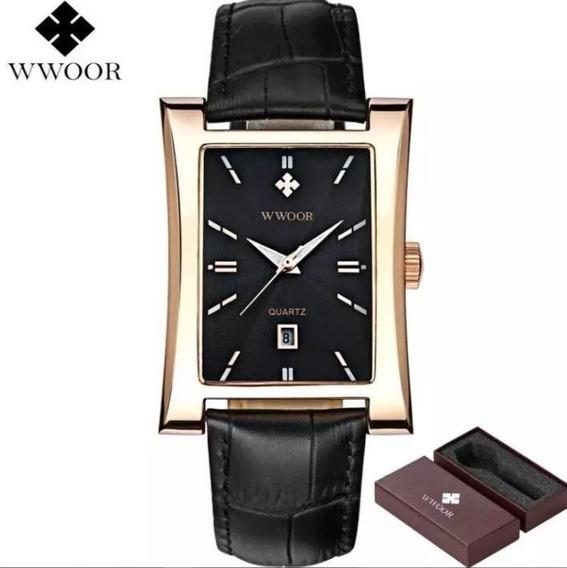Relógio Fino Wwoor Quadrado Original Gold Luxo Promoção
