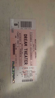Entrada Para Recital Dream Theater Campo Oro Sector L