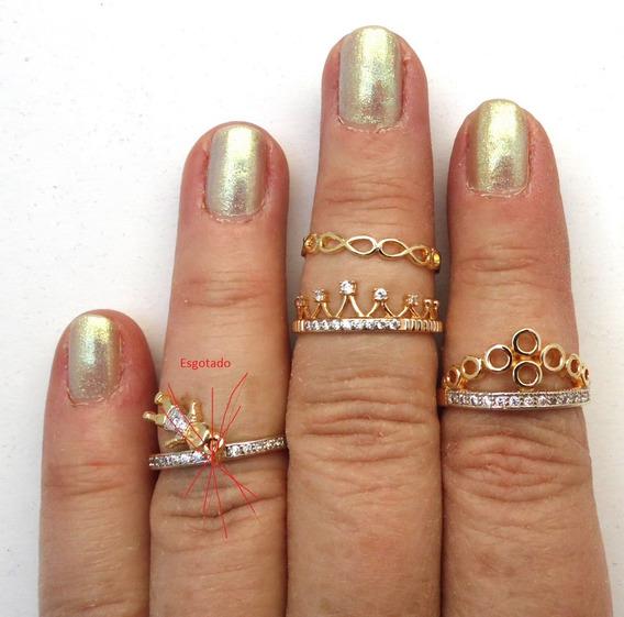 Anel Princesa Coroa Infinito Folheado Ouro 18 Zirconia Kit 3