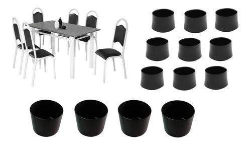 Kit Ponteira Protetora Pé De Mesa Tubular E Para 6 Cadeiras