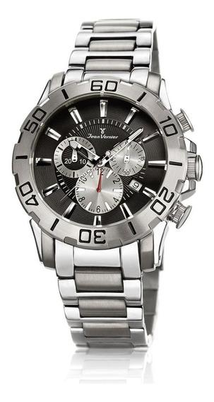Relógio Pulso Jean Vernier Cronógrafo Masculino Aço Jv01136