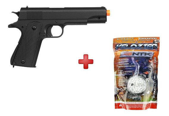 Pistola Airsoft Spring M292 Colt 1911 + Bbs Nautika 0.12g