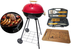 Grillstore - Combo Round Grill + Utensilios Bbq + Tabla Pig