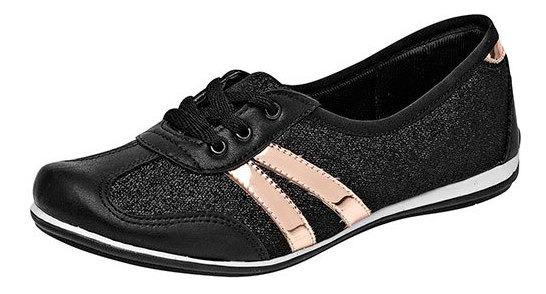 Zapato Flats Casual Sint Negro Dama Rayas 42326 Udt