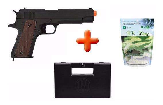 Pistola Airsoft Elétrica Colt 1911 Full Metal + Case + Bbs