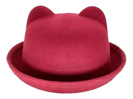Sombrero Bombin Con Orejitas De Gato 7335 Calidad Premium