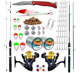 Kit De Pesca Completo 7kg C/ 2 Varas 1,50m + 2 Molinetes + Acessórios Com O Frete Grátis