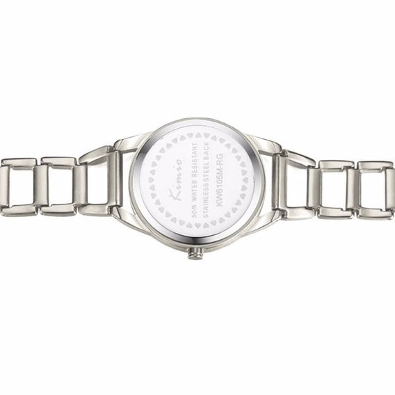 Relógio Prata Feminino Luxo Redondo Kimio Kw6105 Original