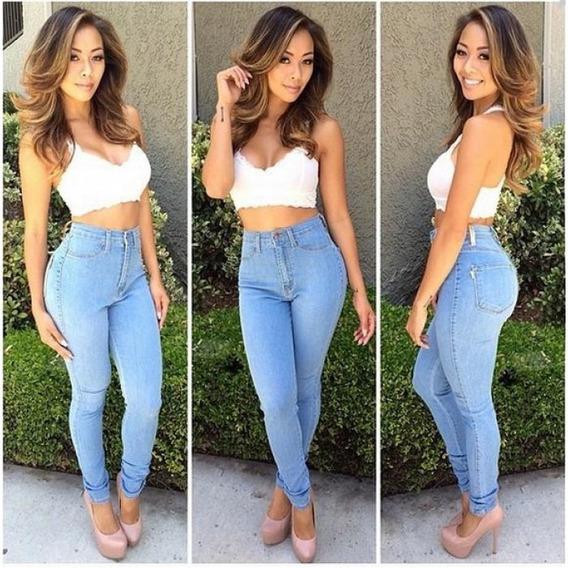 Calça Jeans Cós Alto Levanta Bumbum Feminina Pronta Entrega