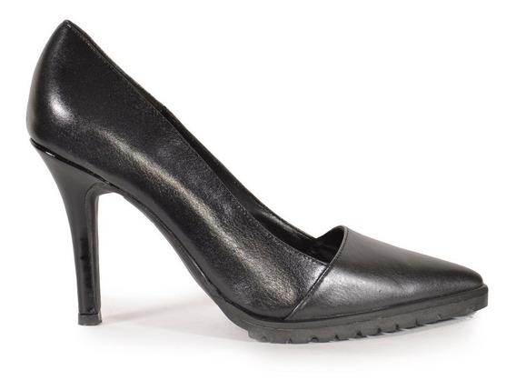 Zapatos De Mujer Stiletto De Cuero Trapiche Negro - Ferraro