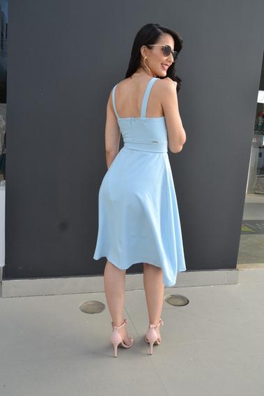 Vestido Liso Azul Rodado