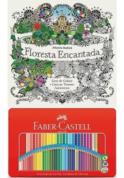Kit - Livro Floresta Encantada + Lápis 48 Cores Lata Faber