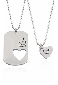 Cordão E Pingentes Coração Casal Namorados Amantes