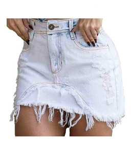 Saia Jeans Hot Pants Destroyed Levanta Bumbum