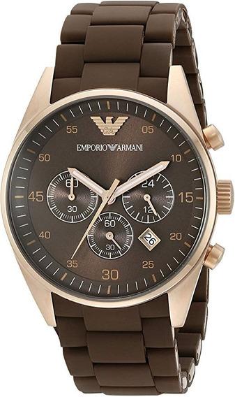 Relógio Emporio Armani Ar5890 Sport Marrom Silicone Caixa Ma