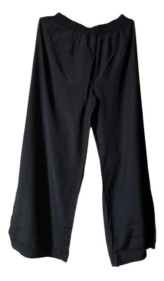Pantalon De Seda Palazzo, Color Negro, Talle Xl