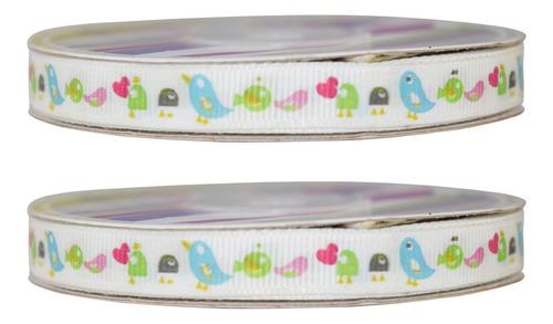 Imagen 1 de 2 de Listón Popotillo Estampado Baby Shower, 2 Piezas-rb1