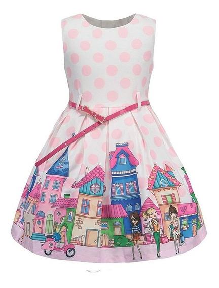 Vestido Infantil De Festa P Meninas Rosa Estampado Com Cinto