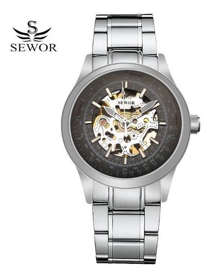 Relógio Masculino Automático Esqueleto Sewor Aço Inoxidavel