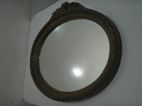 Antigo Grande Espelho 68 Cm Oval Anos 50 Imbuia Todo Trabalh