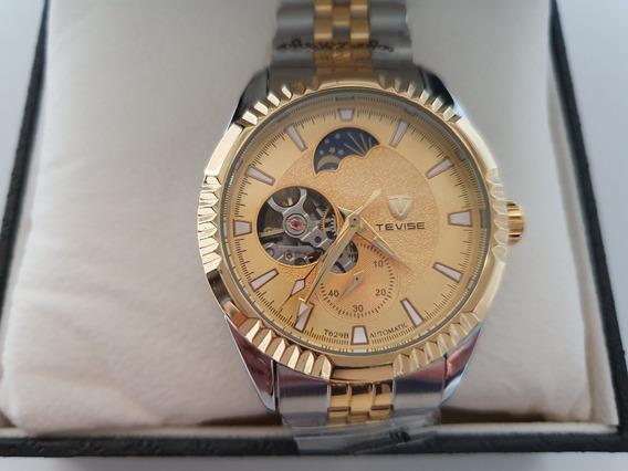 Reloj Tevise T629b Automático Hombre Plata Dorado