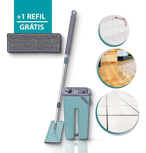 Mop Esfregão Balde Flat Para Limpeza De Piso + 1refil Brinde