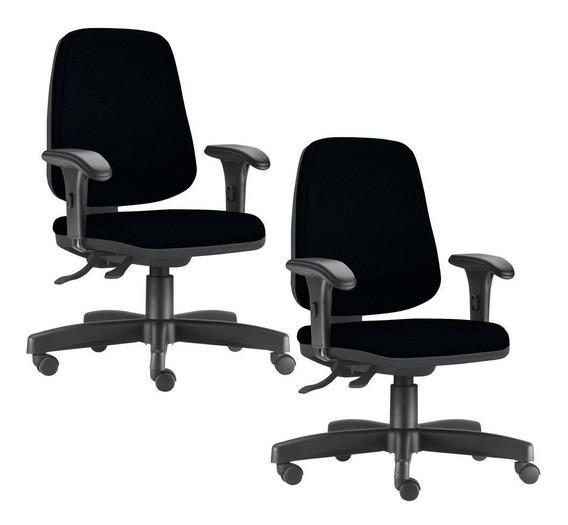 Kit 02 Cadeiras Giratórias Job Diretor Couro Sintético Preto