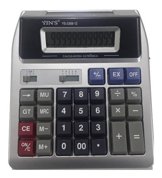 Calculadora De Mesa Display Duplo 12 Dígitos Visor Grande