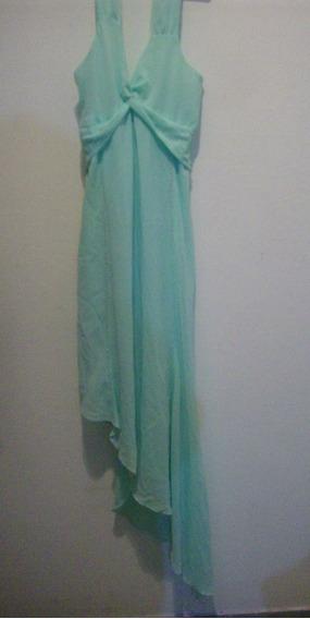 Vestido De Gasa Verde Agua Talle S Bordado