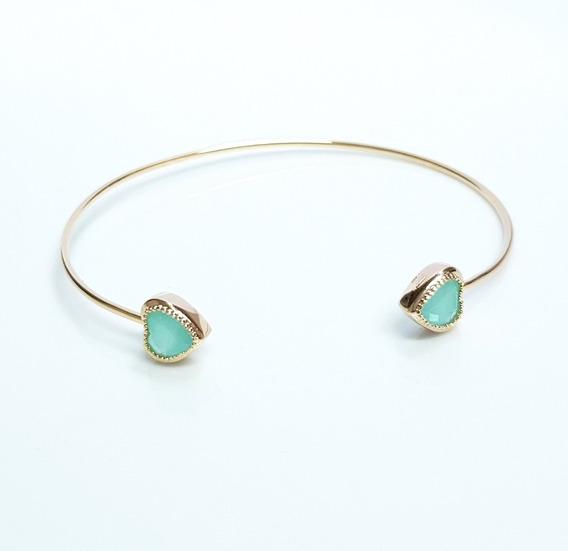 Pulseira Bracelete Feminino Coração Verde Banhado Ouro 18k