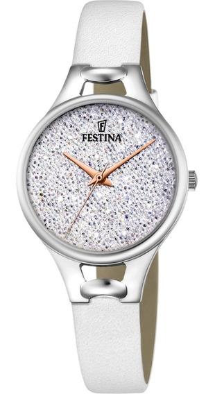 Relógio Festina Feminino Crystals Couro Branco F20334-1