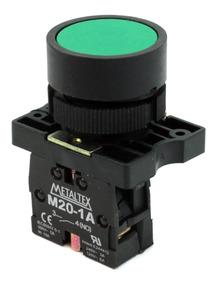 Pulsador Faceado 22mm Plástico - Verde - 1na P20afr-g-1a