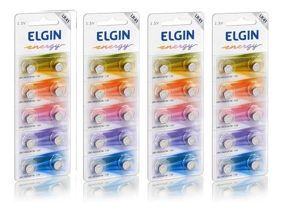 4 Cartelas C/10 Un. Bateria Alcalina Energy Lr41 1,5v Elgin