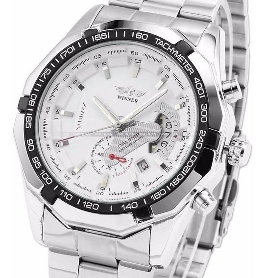 Relógio Winner Branco Automático Pronta Entrega Aço