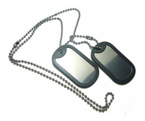 Corrente E Placa Militar Dog Tag Em Aço Inox Promoção