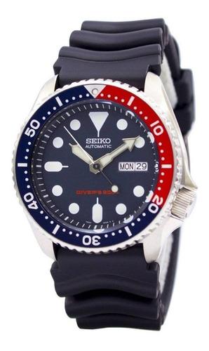 Reloj Seiko Diver Pepsi Con Malla Caucho Automatico Skx009