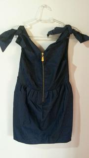 Vestido Em Tafetá Azul Marinho Da Marca Juliana Jabour Novo