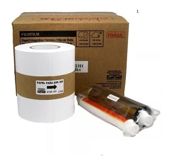 Papel + Ribbon 10x15 Para Impressora Fuji Ask 300