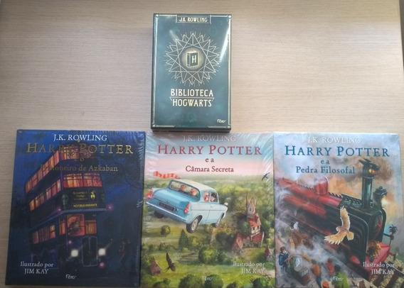 Kit Livros Harry Potter Ilustrados + Box Biblioteca Hogwarts