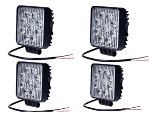 Pack 4 Foco Led Neblinero 27w Cuadrados 9 Led
