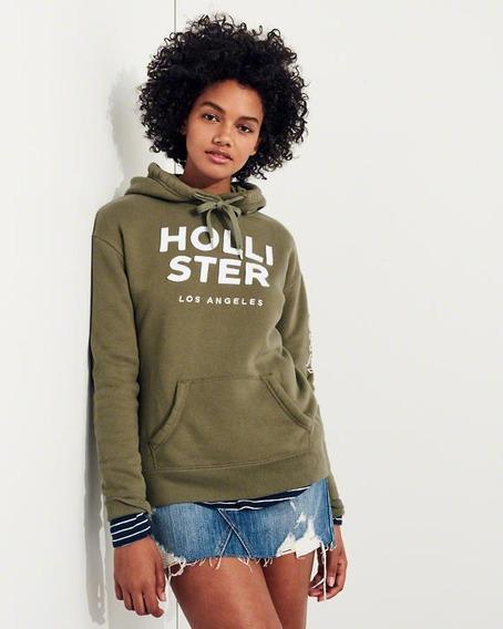 Blusa Frio Hollister Feminina Casaco C/ Capuz Preto Ou Verde