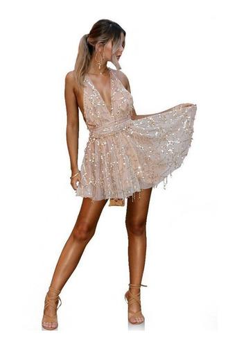 Vestido Brilhante Luxo Sexy Da Moda Verão Curto Frete Grátis
