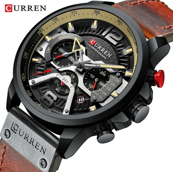 Relógio Masculino Cronógrafo Curren Luxo Lançamento 2019